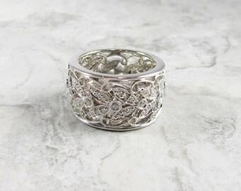 Wide Diamond Wedding Band, Filigree Diamond Wedding Ring, Wedding Band, Wedding Ring, Diamond Wedding Ring, Diamond Band Ring, Diamond Ring