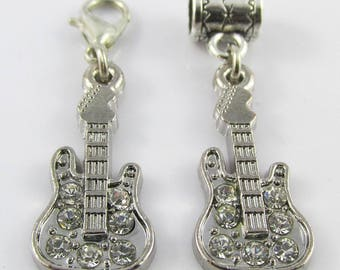 Rhinestone Guitar Charm Select European Charm or Clip on