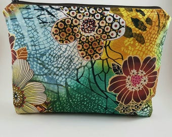 Large cosmetic bag - toiletry bag - make up bag - accessory bag - pencil case - pouch