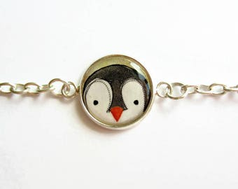 Cute Penguin Bracelet with Swarovski Crystal Charm - Penguin Chain Bracelet - Penguin Jewelry - Adjustable Bracelet - Layering Jewellery