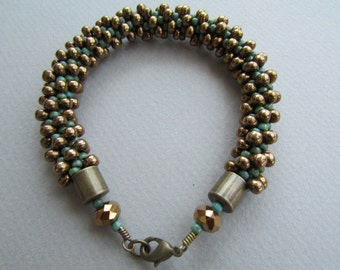 Green and Bronze Kumihimo Bracelet