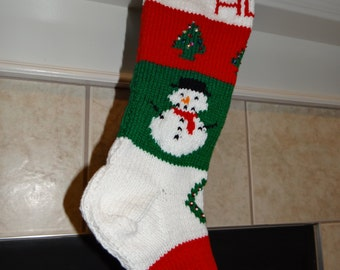 Personalized Handmade Knitted Christmas Stocking *Wool Available* - Trees, Snowman & Wreath