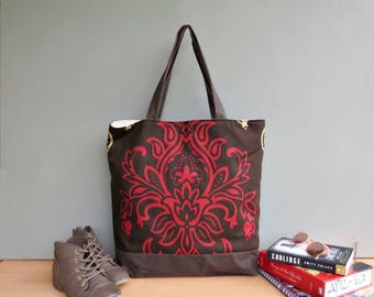 Oversized Damask Tote, Brick Red and Chocolate Shoulder Tote Bag, Extra Large Waxed Canvas Bottom Shopper, Womens Market Bag, Overnighter