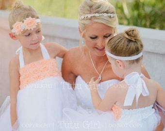 Peach Flower Girl Dress, Peach White Flower Girl Dress, Tutu Style