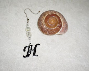 Monogram H,  Ceiling Fan Pull,  Chain Pull,  Light Pull,  Silver and Crystal, Room Decor, Ready To Ship,  Housewarming