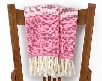 Cotton Turkish Hand Towels Kitchen Towels Handwoven Bathroom Towel Face Towel Tea Towel Guest Towel Turkish Towel FUSCIA PESHKIR SET