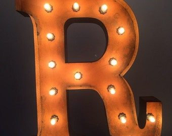 """24"""" Vintage Marquee Light Letter R (rustic) 24"""" Free Shipping"""