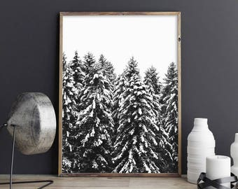 Forest Snow Photography, Black and White Photography, Winter Landscape, Forest Winter Print, Forest Print, Snow Print, Snow Forest Poster
