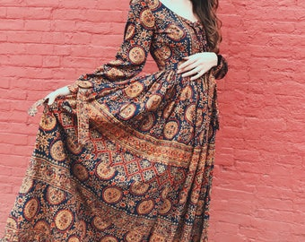 70's Incredible Block Print India Cotton Maxi Dress, 100% Cotton, Made In india by BATIKWALLA. SMALL