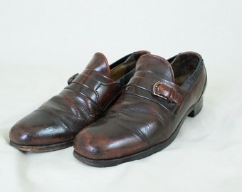 Vintage Men's Size 7.5 Buckled Leather 70's Loafers Shoes