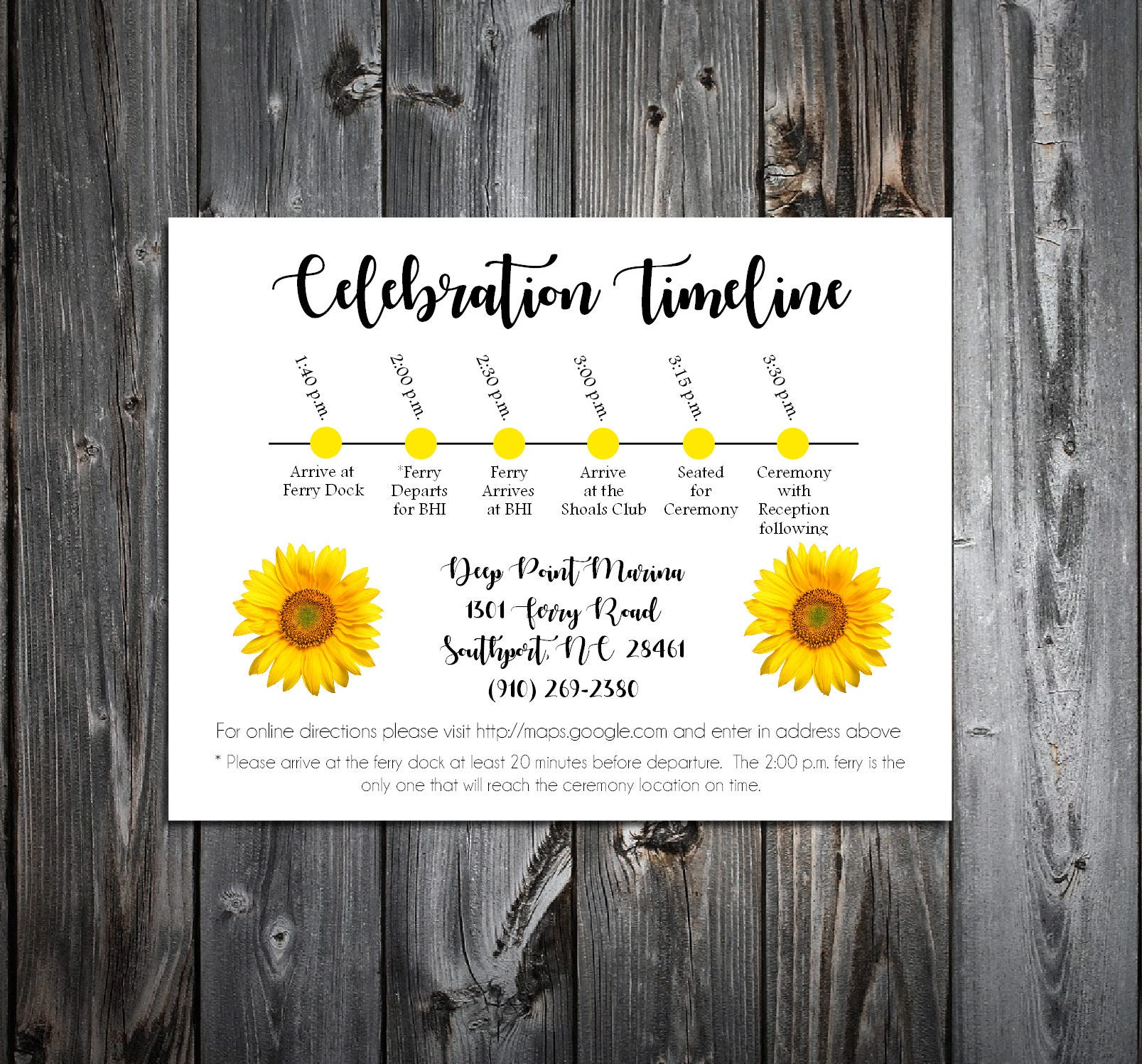 100 Sunflower Timeline to include with your Wedding Invitations ...
