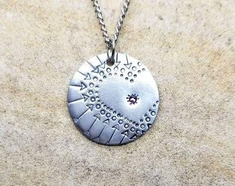 Heart Mandala- Pewter Pebble Hand Stamped Necklace With Swarovski Crystal Or Customized Your Way