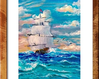 Ship - Tiny Seascape Original Painting on Canvas Panel 5x7 inches, UNFRAMED - by Galina;