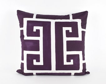 Purple Greek Key Watercolor Pillow