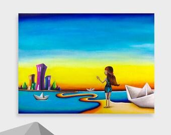 Paper Boats - Original Acrylic painting by Ursalina Aguilar