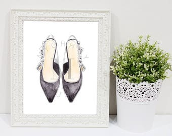 Dior Shoes Black and White Fashion Watercolor Illustration