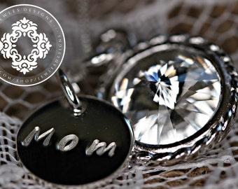Mother's Day necklace, Rivoli Swarovski Necklace, Personalized,Personalized Mother's day Gift