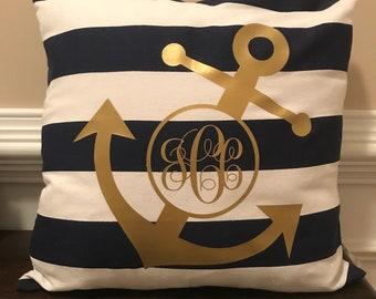 Monogrammed Anchor Pillow