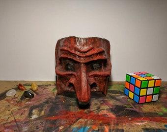 Paper Mache Mask Sculpture - Red Finish