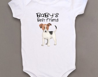 Cute baby bodysuit, Unique baby clothes, Dog baby, Puppy baby shower, Jack Russell, Baby dog, Pet lover, Baby gift, Baby one piece