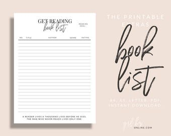 Book List - Planner Page Refills Printable   A4, A5, and US Letter