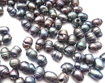 Pearls dark grey extra large hole 3 mm modular beads European beads for leather silk jewelry 6-10 mm real pearls DIY necklace bracelet