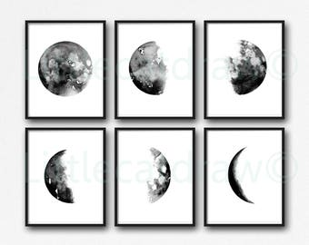 Moon Print Set Of 6 Phases Wall Decor Watercolor Painting Print Celestial Print Luna Phases Bedroom Decor Home Decor Wall Art Prints