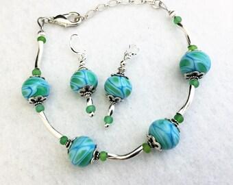 20% off St Patricks Day Sale, set, bracelet, earrings, glass, beads, lampwork, silver, blue, green, gift, handmade, Sassy Shack Designs