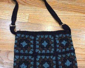 Handmade bag/ Crochet shoulder bag/  Motifs bag/ Black