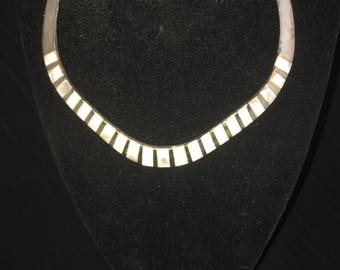 Silver Metal mother pearl necklace