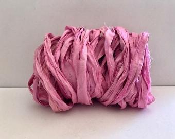 Sari Silk Ribbon-Recycled Pink Sari Ribbon-10 Yards