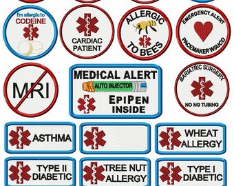 Free first class shipping Allergy patches. New Medical Allergy Alert Patches added put on your bookbags, travel bags,  alert medical persons