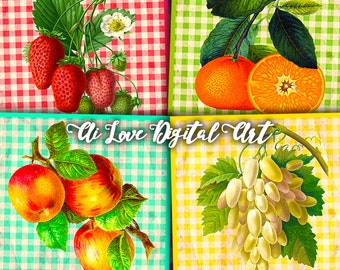 Colors Fruit digital collage sheet, square 4x4 inch, instant download, coasters printable, digital images