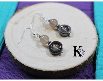 Earrings Silver 925 beads gemstones: chalcedony gemstone