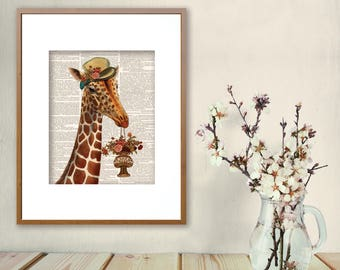 Giraffe, Giraffe Print, Print Giraffe, Giraffe, Giraffe Collage, Giraffe Wall Art, Vintage Giraffe, Giraffe Wall Art, Jungle Art, Kids Room
