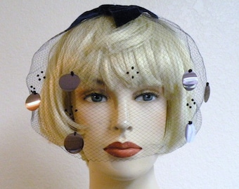 1950s Navy Blue Net Veil Hat with Silver Paillettes and beads