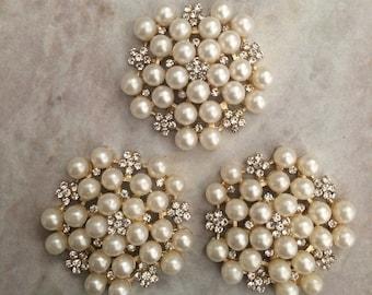Pearl and rhinestone flower, pearl flowers, rhinestone flowers, flat back button, flower button, flower brooch, headband flower, wedding