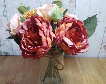 Peony rose with vase