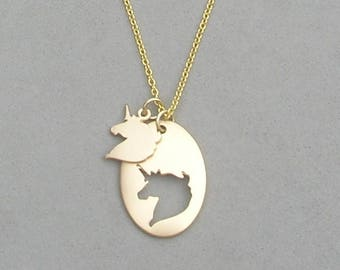 Unicorn cut out Necklace