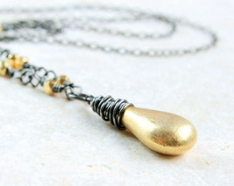 Gold Drop Necklace  Silver And Gold Oxidized Silver  Wire Wrap Jewelry Two Tone Jewelry Made For Women Mixed Metal Necklace