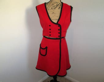 Adorable 1960's Vest/Skirt Set, Red with Black Detailing, Cute Accent Buttons and Small Pocket on the Skirt XSmall