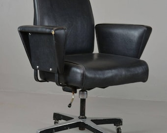 Retro Industrial Tan Sad Black Vinyl Office Chair