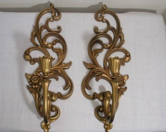 Vintage Pair of Gold Syroco Sconces - Candle Sconces