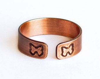Butterfly Ring - Handcrafted Stamped Copper ring with Brushed Matte Finish, Adjustable and Lightweight