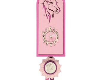 Pink Horse Rosette Style Personalised Wooden Pendulum Clock