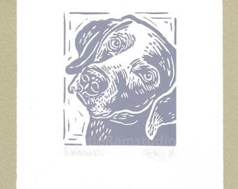 Weimaraner Dog Art Print - Linocut Original hand pulled Relief Print