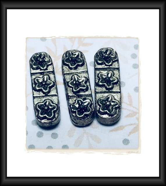 Antique Silver Four-Strand Spacer/Separator Flowers Bar 17 x 5 mm, 4 mm high - 6 Bars