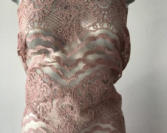 Pink corded lace fabric scallop edge both ends dusky pink Alencon lace formal mother of bride evening prom bridal