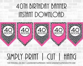 40th Birthday Banner Hot Pink and Cheetah design by SUNSHINETULIPDESIGN