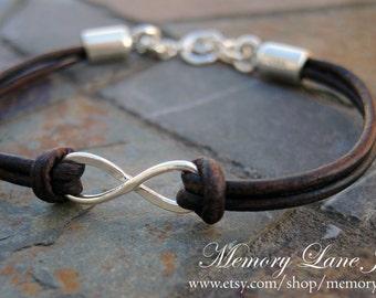 Sterling Silver & Leather Infinity Bracelet
